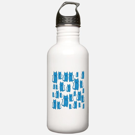 Blue Cats Pattern. Water Bottle