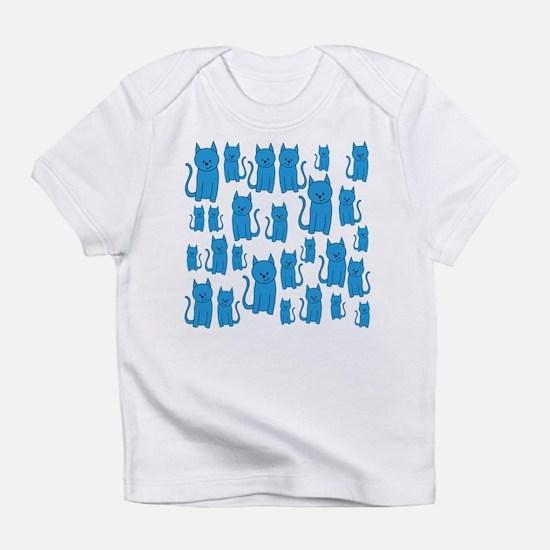 Blue Cats Pattern. Infant T-Shirt