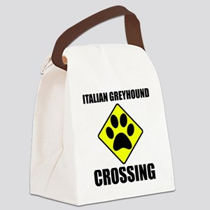 Italian Greyhound Crossing Canvas Lunch Bag