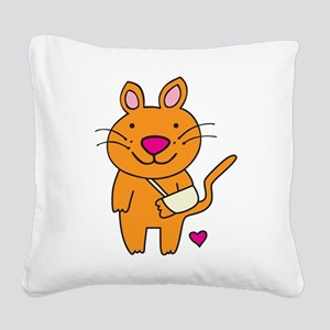 Broken Kitty Square Canvas Pillow
