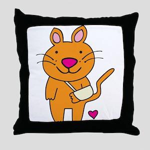 Broken Kitty Throw Pillow