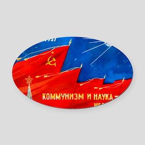 Sputnik 1 postcard - Oval Car Magnet
