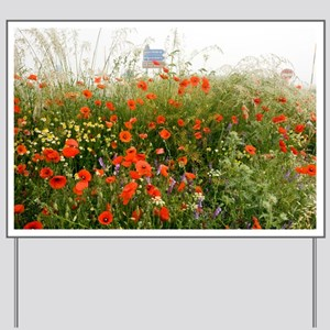 Edge of a field full of poppies - Yard Sign