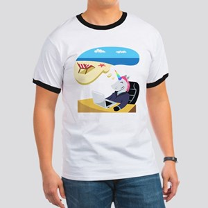 Emoji Unicorn Day Dreaming Ringer T