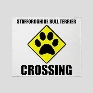 Staffordshire Bull Terrier Crossing Throw Blanket