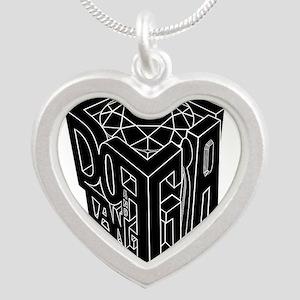GIA white lines black background Silver Heart Neck