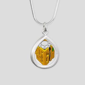 GIA white diamond green stone Silver Teardrop Neck