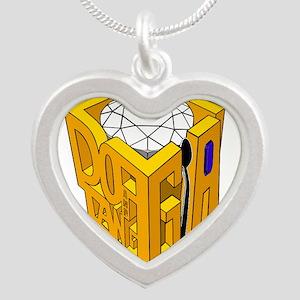 GIA white diamond blue stone Silver Heart Necklace