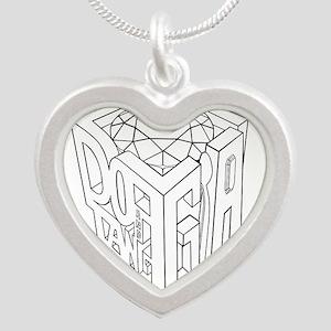 GIA black lines white background Silver Heart Neck
