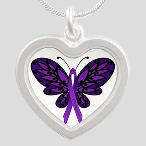 Fibromyalgia Awareness Silver Heart Necklace