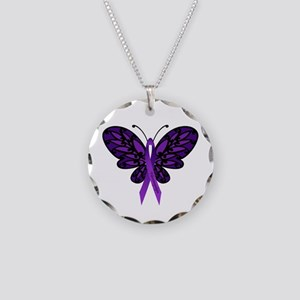 Fibromyalgia Awareness Necklace Circle Charm
