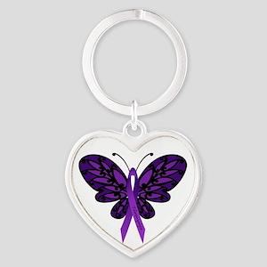 Fibromyalgia Awareness Heart Keychain