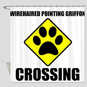Wirehaired Pointing Griffon Crossing Shower Curtai