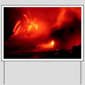 Lava entering the sea at night - Yard Sign