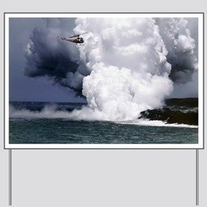 Lava flow boiling the sea, Hawaii - Yard Sign