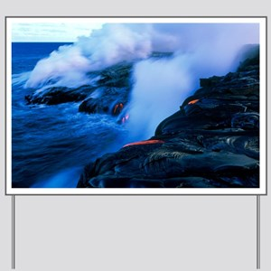 Molten lava flowing into the ocean - Yard Sign