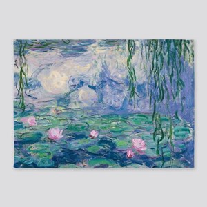 Water Lilies Claude Monet Fine Art 5'x7'Area Rug