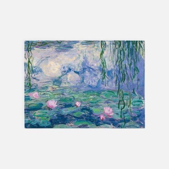 Water Lilies Claude Monet Fine Art 5'x7'Area Rug