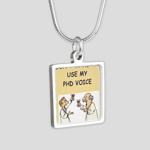 phd Silver Square Necklace