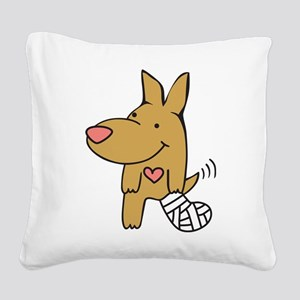 Broken Leg - Wagging Tail Square Canvas Pillow