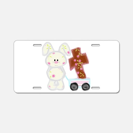 Bunny with a cross Aluminum License Plate