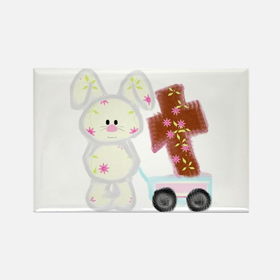 Bunny with a cross Rectangle Magnet (10 pack)