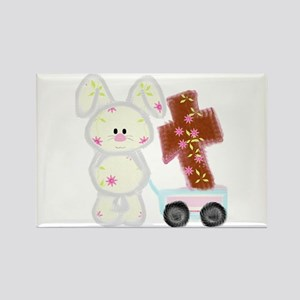 Bunny with a cross Rectangle Magnet