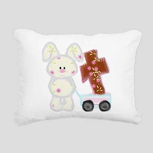 Bunny with a cross Rectangular Canvas Pillow