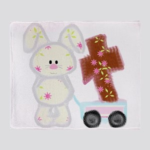 Bunny with a cross Throw Blanket