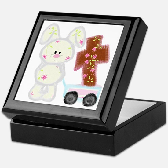 Bunny with a cross Keepsake Box