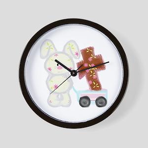 Bunny with a cross Wall Clock