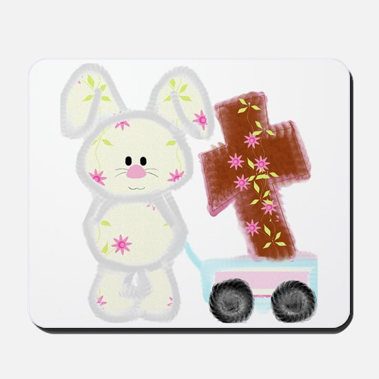 Bunny with a cross Mousepad