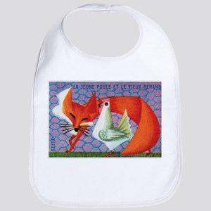 The Young Hen and The Old Fox Matchbox Label Bib