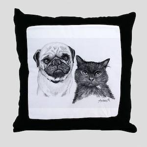 Pug and Cat Throw Pillow