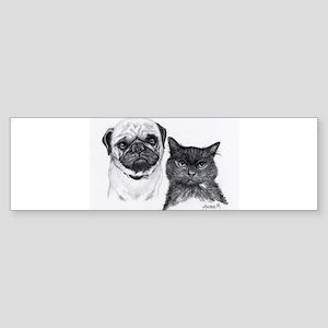 Pug and Cat Bumper Sticker