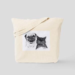 Pug and Cat Tote Bag