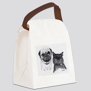 Pug and Cat Canvas Lunch Bag