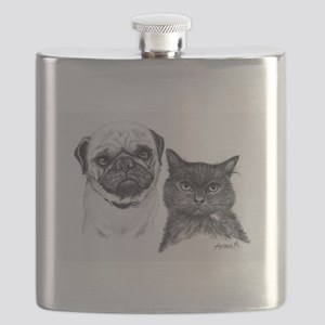 Pug and Cat Flask