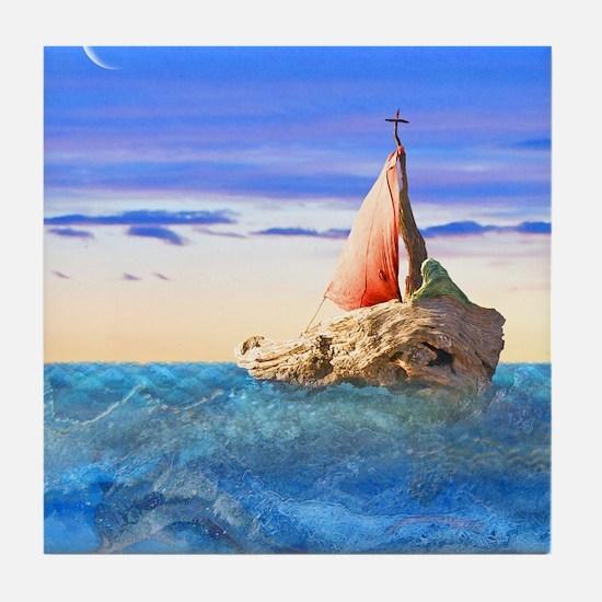 Brendans Boat Tile Coaster