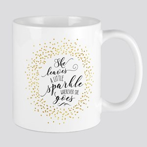 She Leaves a Little Sparkle Faux Gold Mugs