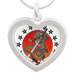 Dragon katana 2 Silver Heart Necklace