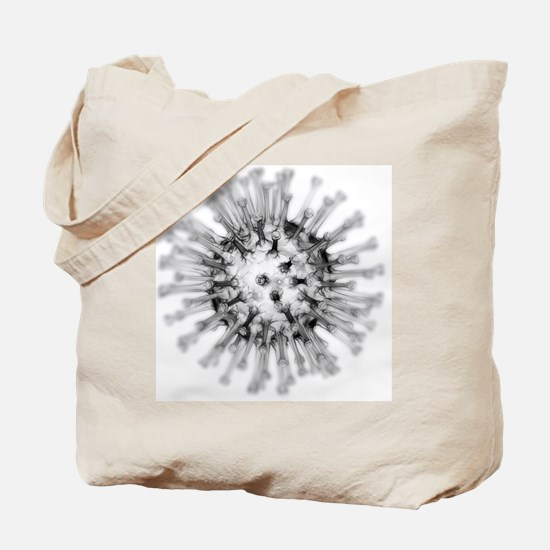 H1N1 flu virus particle, artwork - Tote Bag