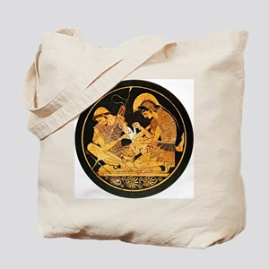 Achilles binding Patroclus' wound - Tote Bag