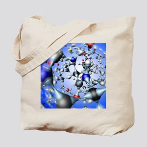 Insulin molecule, close-up view - Tote Bag