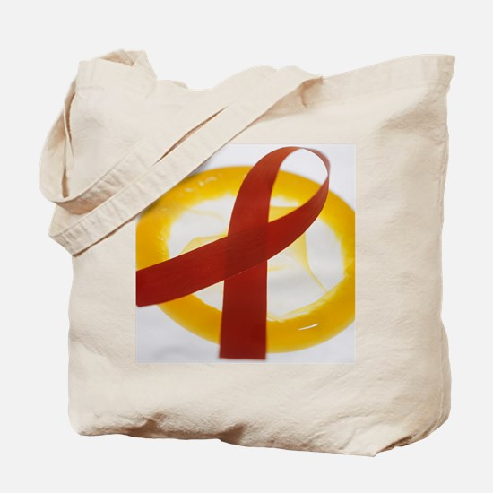 AIDS ribbon and condom - Tote Bag
