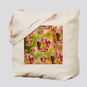 AIDS virus particles, computer artwork - Tote Bag