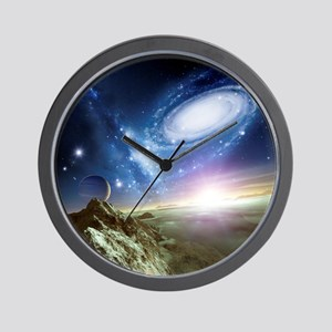 Colliding galaxies, artwork - Wall Clock