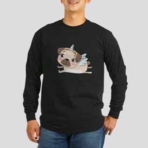 Unicorn Pug Long Sleeve Dark T-Shirt