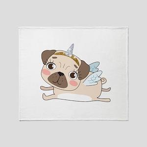 Unicorn Pug Throw Blanket