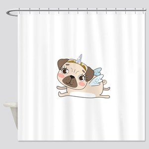 Unicorn Pug Shower Curtain